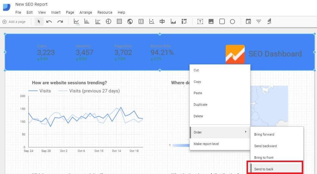 Google Data Studio - Add Background to Header