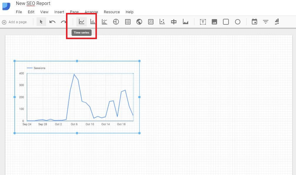 Google Data Studio - Add Data Line Graph
