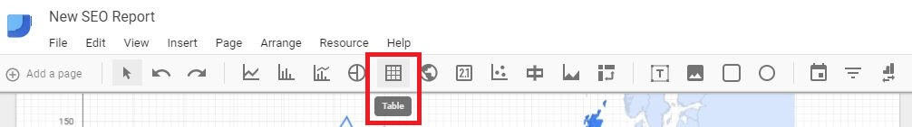 Google Data Studio - Add Table