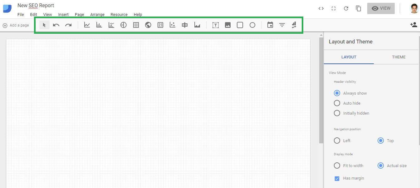 Google Data Studio Blank Report