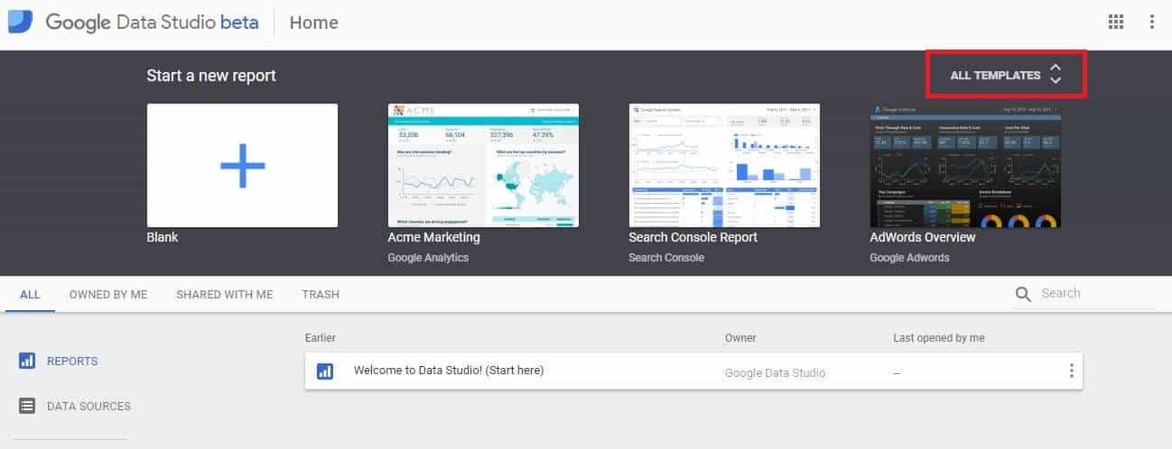 Google Data Studio - Choose Template