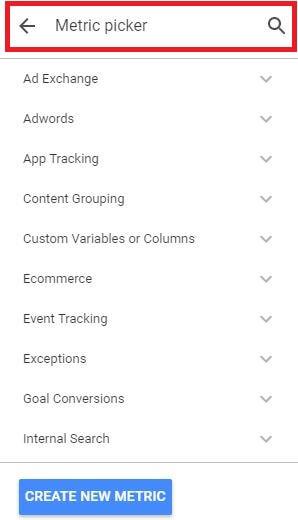 Google Data Studio - Find Metric