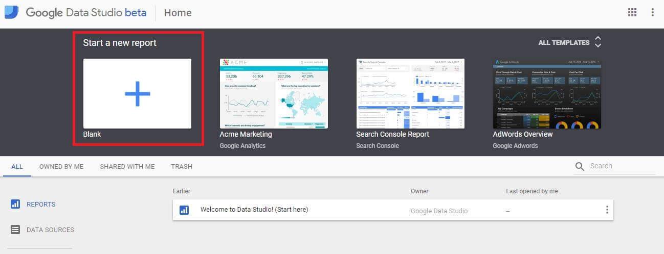 Google Data Studio - The Homepage