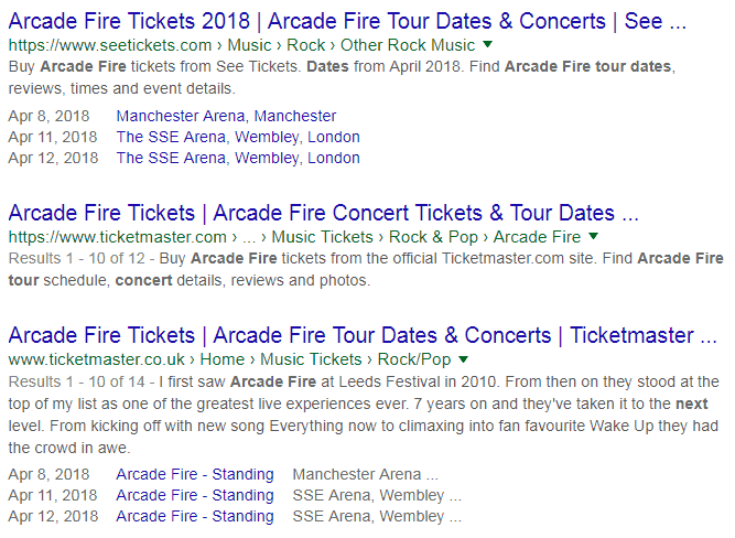 Arcade Fire serp competitors