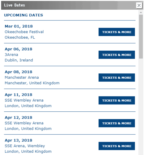 Arcade Fire tour dates