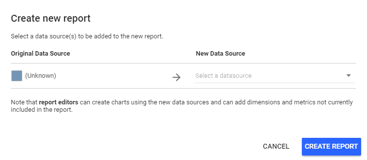 Create new Google Data Studio Report